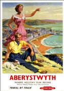 Aberystwyth, Where Holiday Fun Begins. BR (WR) Vintage Travel Poster by Harry Riley
